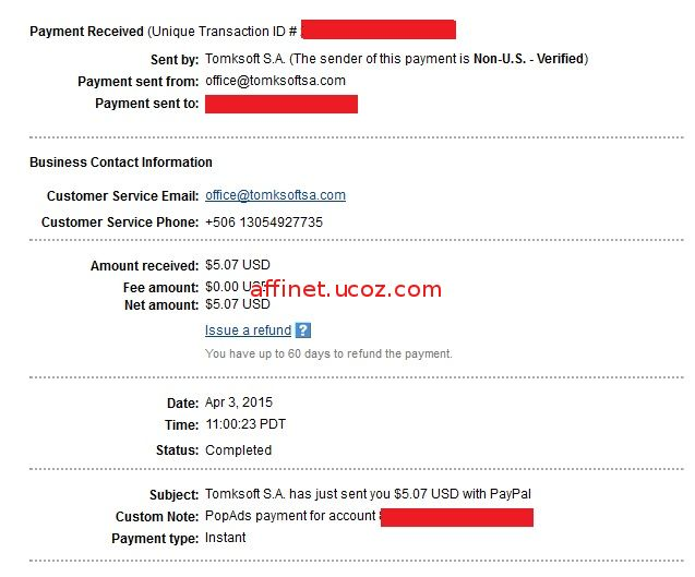 Popads Payment Proof $5.38 (3 apr 2014)