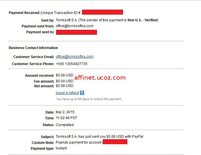 Popads Payment Proof $5.08 (2 mar 2015)