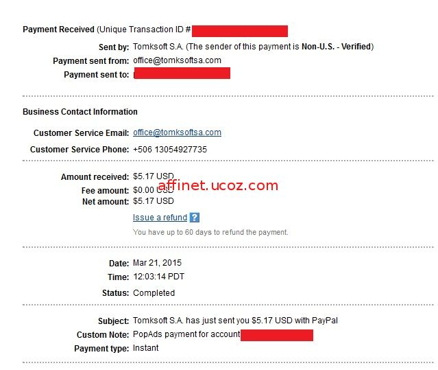 Popads Payment Proof $5.17 (21 mar 2015)